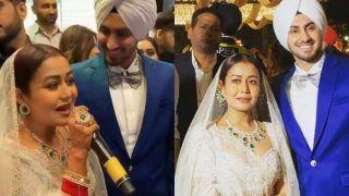 Neha Kakkar Breaks Stereotype by Wearing White at Her Wedding Reception, Looks Breathtaking in a Feathered Falguni Shane Peacock Lehenga - See Pics
