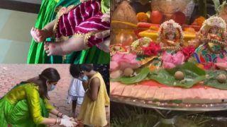 शिल्पा शेट्टी कुंद्रा ने की बेटी की पहली कन्या पूजन, 8 लड़कियों के साथ निभाया रस्म, देखें VIDEO