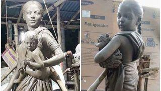 Durga Puja 2020: कोलकाता में बनाया गया अनोखा पंडाल, मां दुर्गा की प्रतिमा की जगह दिखाई देंगी प्रवासी महिला मजदूरों की मूर्तियां