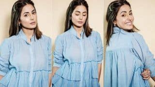 Bigg Boss 14: Hina Khan Impresses Fashion Police With Her Refreshing Look in Blue Tunic And Matching Printed Pants, See PHOTOS