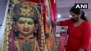 Mumbai-Based Mosaic Artist Creates a 6-Feet Portrait of Goddess Durga Using 31,000 Push Pins