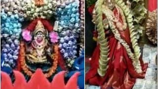 Flowers Made of Currency Notes Worth Rs 1.11 Crore Offered to Goddess On Dussehra at Telangana Temple
