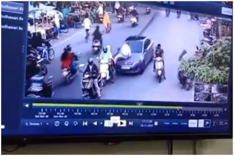On Cam: Traffic Cop Dragged On Car Bonnet in Nagpur, Driver Arrested | WATCH