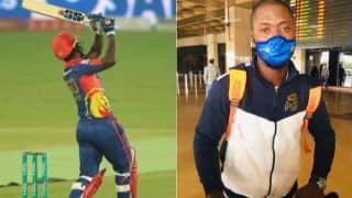 West indies cricketer sherfane rutherford played psl match with mumbai indians gloves 4213469