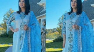Sunny Leone Is A Sight For The Sore Eyes In A Printed Powder Blue Suit By Mayeera Jaipur Worth 14K