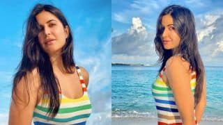 Katrina Kaif Oozes Sunshine in a Rainbow Swimsuit While She Poses With Serene Landscape in The Backdrop
