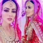 Sana Khan Is A Gorgeous New Bride In Rs 99K Red and Golden Lehenga For Her Walima