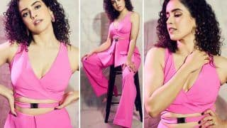 Sanya Malhotra Looks Bossy & Fierce in A Bubble Gum Pink Cut-Out Pant Suit By Shivangi Jain
