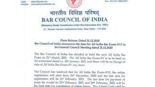 Bar Council of India (BCI) Announces AIBE XVI Exam Dates, Applications To Start from 26th Dec at allindiabarexamination.com