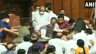 Massive Ruckus in Karnataka Legislative Council After Congress MLCs Forcibly Remove Dy Chairman From Seat   Watch