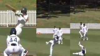 Prithvi Shaw Takes a Stunning One-Handed Catch to Dismiss Tim Paine During AUS-A-IND-A Practice Game | WATCH