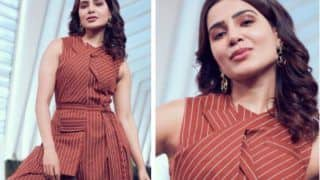 Samantha Akkineni Looks Glamorous In Rs 11K Burnt Orange Pinstripe Jumpsuit For Her Talkshow