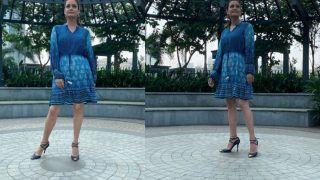 Dia Mirza Beats Monday Blues In Rs 10K Indigo Fuss-Free Printed Dress By Anita Dongre