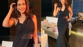 Karishma Tanna's Sheer Black Peplum Pleated Saree Worth Rs 51k Is A Perfect Pick For The Party Season