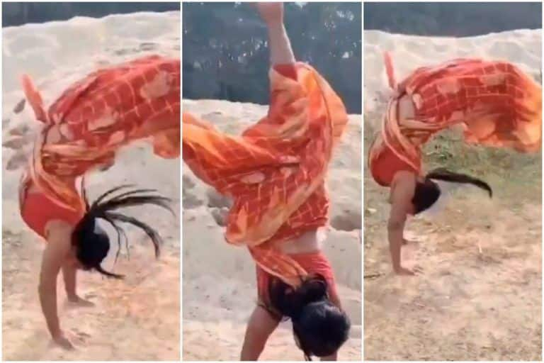 Woman Performs Impressive Backflips in a Saree & Stuns The Internet | Watch Viral Video