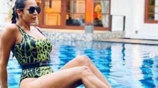 Malaika Arora Soaks Herself In The Sun By The Pool in Green Monokini, Sets Fan's Hearts Aflutter
