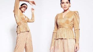 Samantha Akkineni Looks Classy In A Golden Pleated Outfit Worth Rs 85K As She Hits 14 Million Followers
