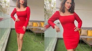 Sunny Leone Looks Drop Dead Gorgeous In Rs 2500 Red Bodycon Dress, Sets The Christmas Mood