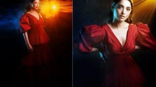 Tamannaah Bhatia Looks Straight Out Of A Fairy Tale In A Balloon Sleeve Red Frill Dress Worth Rs 20K