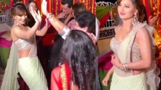 Urvashi Rautela Dances in Rs 87K Mint-Green Saree at a Friend's Wedding in Chandigarh