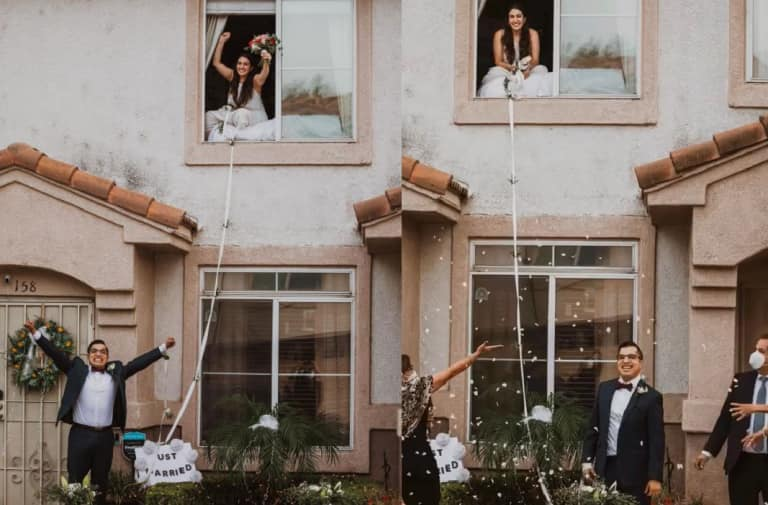 With an Actual COVID Bride, a California Couple Had the Most 2020 Wedding Ever!