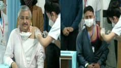 AIIMS Chief Guleria, Sanitation Worker Manish Receive First Shot of COVID Vaccine