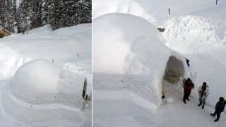 India Gets Its First-Ever Igloo Cafe in Kashmir's Gulmarg, Now Sit and Dine on Tables and Benches Made of Ice