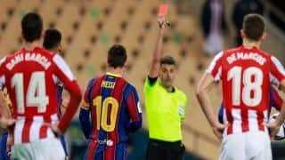 Lionel Messi Could Face Ban After First Red Card in Club Football Career For Barcelona