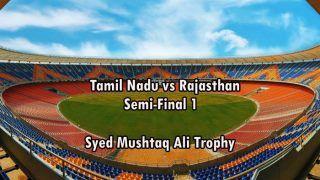 Live Cricket Score Tamil Nadu vs Rajasthan Syed Mushtaq Ali Trophy 2021 1st Semi-Final Sardar Patel Stadium, Ahmedabad Today's Match