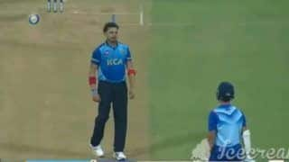 Syed mustaq ali trophy s sreesanth sledge yashasvi jaiswal hit two six and four in next three bowl 4332324