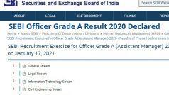 SEBI Officer Grade A Result 2020 Declared: SEBI ने जारी किया ऑफिसर ग्रेड A का रिजल्ट, ये रहा चेक करने का Direct Link