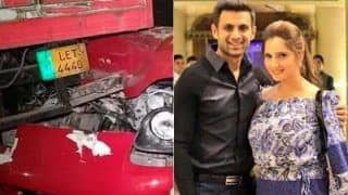 Sania mirza husband shoaib malik car collided with truck in lahore marginally escape 4323047
