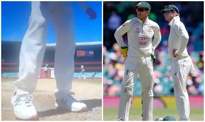 Smith CHEAT   IND vs AUS   Steve Smith in Controversy, Caught Scuffing  Rishabh Pant Batting Mark to Damage Pitch During 3rd Test at SCG   VIRAL  VIDEO
