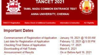 TANCET 2021: Registration Date Extended Till Feb 16, Candidates Can Check Final Status on Feb 23