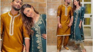 Gauahar Khan Wears Her Sister's Suit to Celebrate 10 Days of Wedding, Poses With Zaid Darbar - See Viral Pics