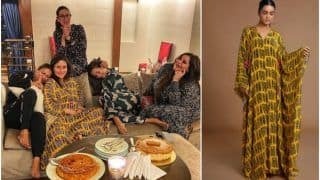 Kareena Kapoor Khan Continues Her Love For Kaftan in Mustard Coloured Tribal Print Worth 12K For Girl's Pajama Party