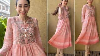 Karisma Kapoor Spreads Happy Cheer in a Romantic Pink Dress by Anita Dongre Worth ...  PICS