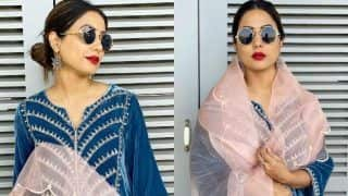 Hina Khan Wears Rs 4k Backstrap Flats to Match Her Floral Outfit, See Pics
