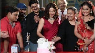 Bhabi Ji Ghar Par Hai: Nehha Pendse Cuts Two-Tier Cake in Wine Red Saree on Day 1 as Anita Bhabhi
