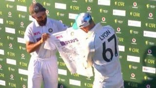 4th Test: India Present Nathan Lyon With Signed Jersey to Mark His 100th Test For Australia
