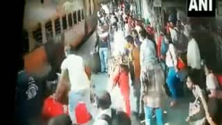 Watch: Railway Officials Save Woman from Being Crushed Under Train in Maharashtra's Thane