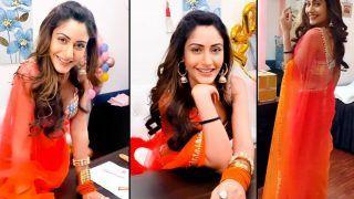 Surbhi Chandna Grooves To 'Bheegi Bheegi Raaton Mein' in Sheer Orange Saree, Video is Unmissable
