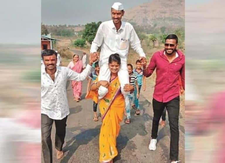 Elated Over Husband's Victory in Panchayat Polls, Wife Carries Him on Shoulders Around The Village