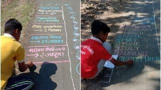 Anything For Education: Children Use Road as 'Slate' in MP's Betul, Learn Writing & Counting on It