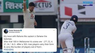 Sanjay Manjrekar Slams Ajinkya Rahane Following Failure in 1st Test in Chennai vs England