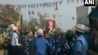 BJP Workers Clash With Security in Bengal's Barrackpore After Parivartan Yatra Was Stopped   Watch VIDEO