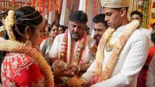 DK Shivakumar's Daughter Aishwarya Ties The Knot With Late CCD Founder's Son Amartya Hegde | See Pictures