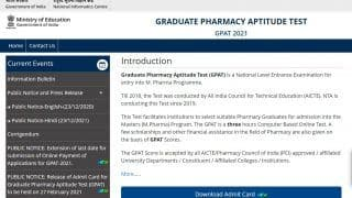 GPAT 2021 Admit Card Released: Check Steps to Download, Direct Link