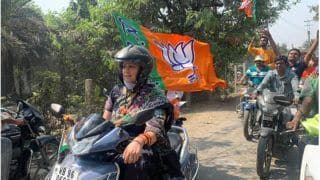 Day After Mamata Banerjee's Pillion Ride, Smriti Irani Drives A Scooter | See Pictures