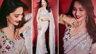 Madhuri Dixit Sparkles in an Ivory Sequin Tulle Saree For Bigg Boss 14 Grand Finale